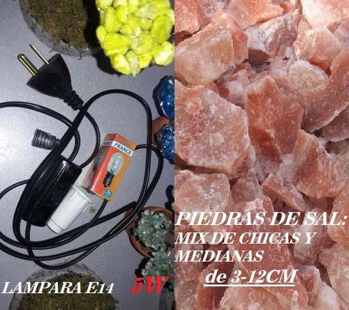 2 kit de cables negros foco 15w y 2 kg piedras de sal ch/med
