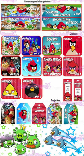 2 kit imprimibles angry birds, tarjetas,cumple