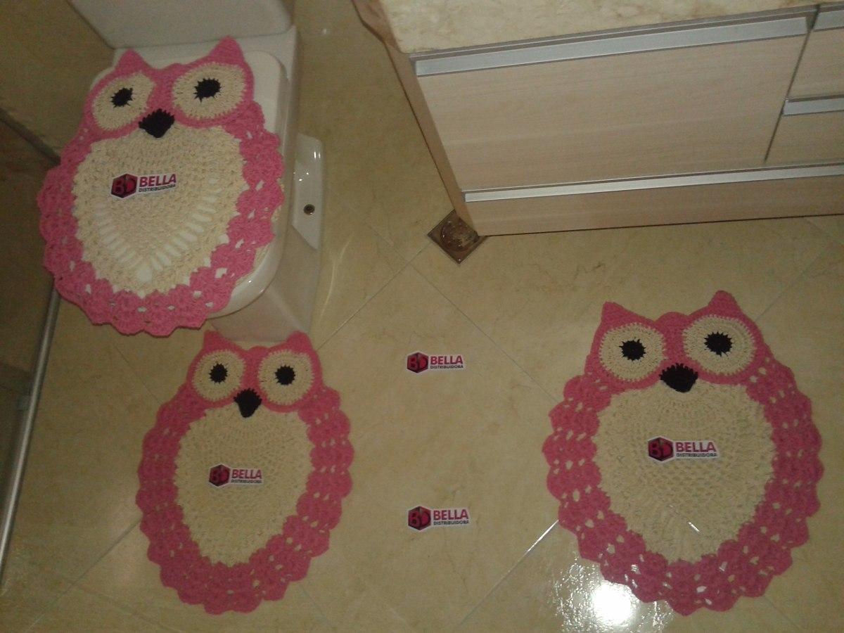 06911e3bd 2 kit jogo banheiro tapete tampa vaso coruja crochê 3 peças. Carregando  zoom.