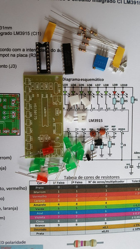 2 kit para montar vu meter com 10 leds, com o ci lm3915