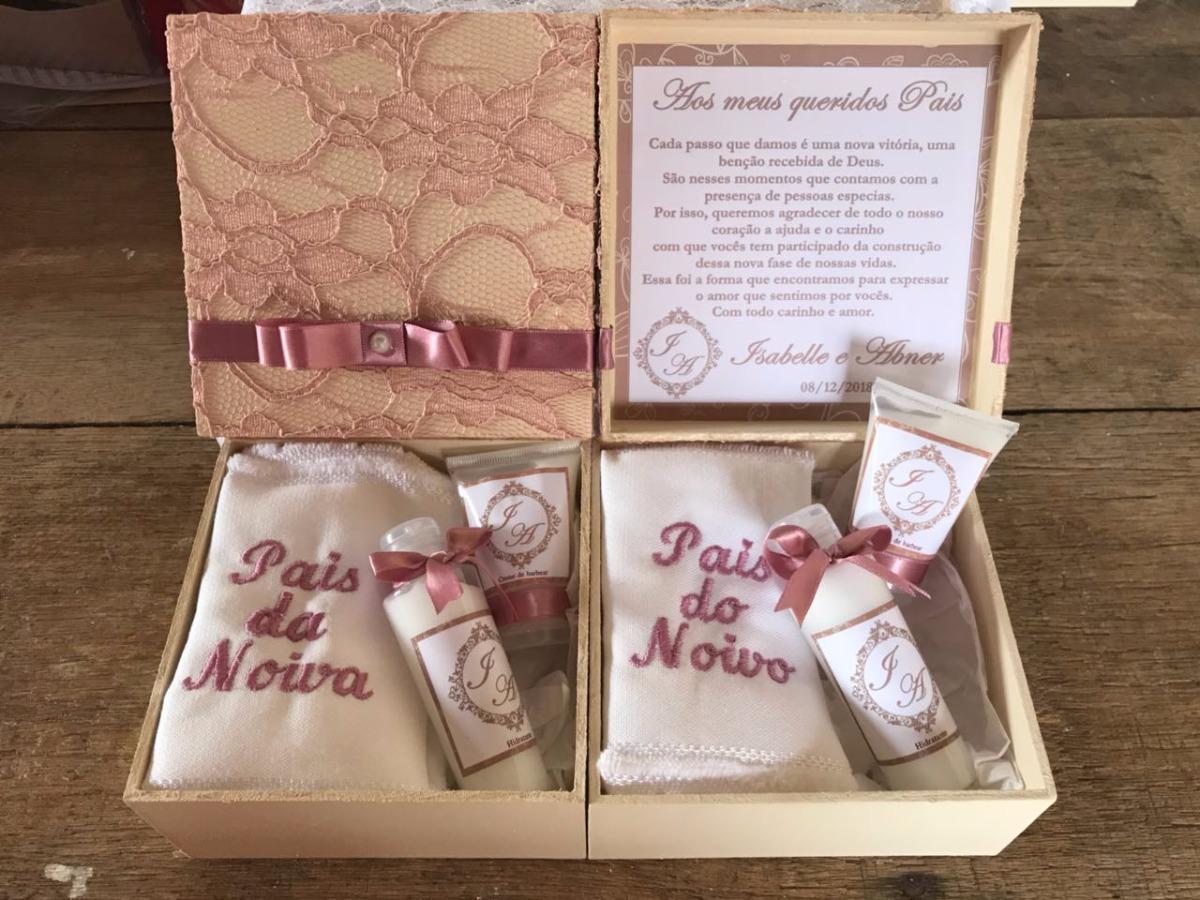 2 Kits Caixa Convite Casamento Personalizado Pais Padrinhos