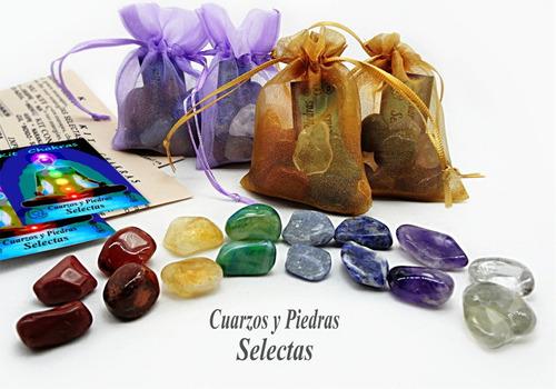 2 kits chakras de bolsillo cuarzo natural con 8/16 piedras
