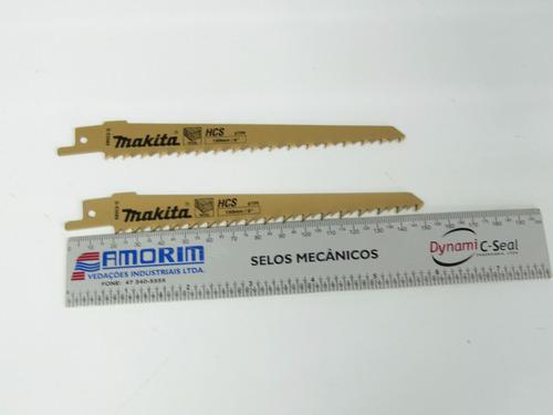 2 lamina madeira p/ serra sabre makita longa total 15cm