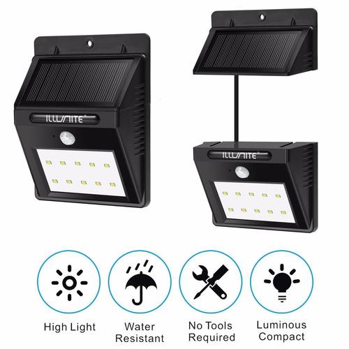 2 lampara led externa sensor de movimiento panel solar 10led