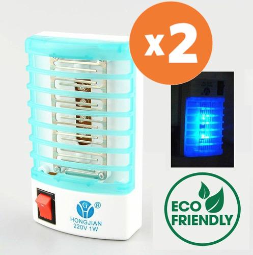 2 lamparas mata mosca mosquito electronica ecologica luz led