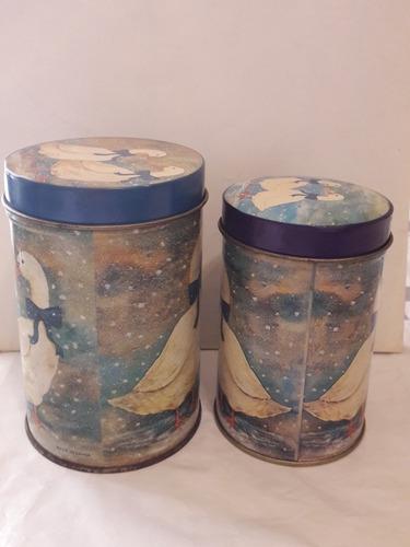 2 latas retro encastrables patos impecables sin uso gabym