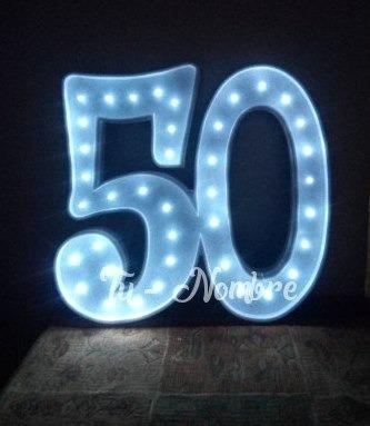 2 letras numeros iluminados 15 cm polyfan luces luz tunombre