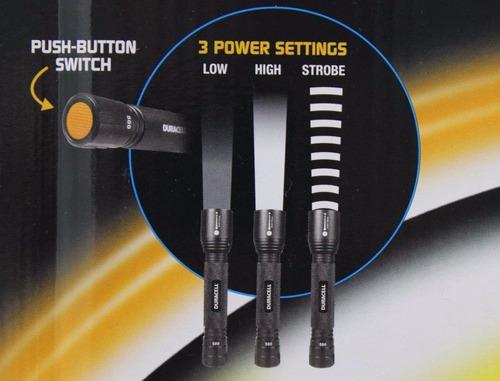 2 linternas táctica duracell usa zoom led 500 lum real 240ml