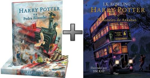 2 livros harry potter cp dura ilustrado: filosofal + askaban