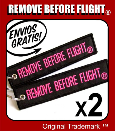 2 llaveros  remove before flight ® black & pink combo