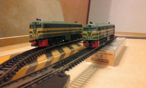 2 locomotoras diesel alco mas 6 coches viajeros