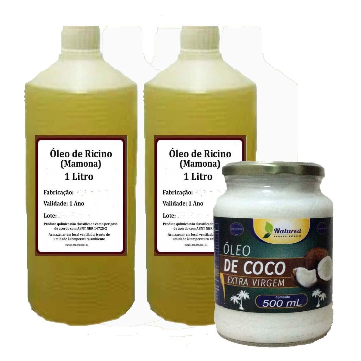 ff4a84708 2 Lts Óleo Rícino Puro + 1 Óleo De Coco 500ml Extra Virgem - R$ 80 ...
