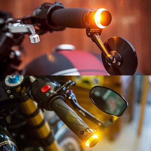 2 luces led direccionales moto manubrio cafe racer con laser