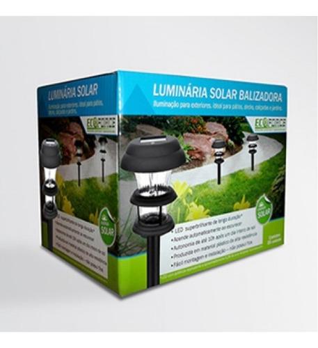 2 luminária jardim solar 10x forte branca + refletor verde