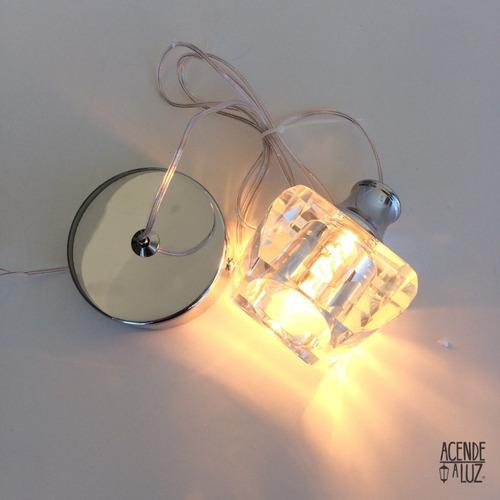 2 lustre pendente cristal maciço transparente alz22 + led 3w