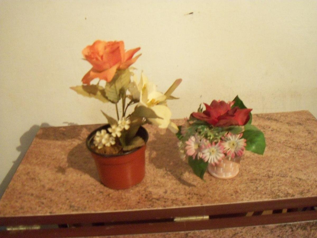 2 Macetas Con Flores Artificiales Para Decoracion 230 00 En