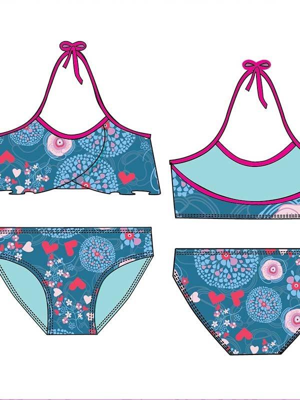 744cca18d 2 Mallas Entera O Bikini Nena Niña Volados Talle 4 A 14 -   1.200