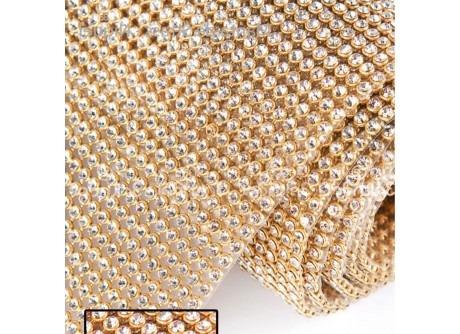 2 manta de strass 1 dourada 45x120  1 prata 22x120
