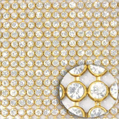 2 manta de strass cristal cor dourada e prata cola atacado