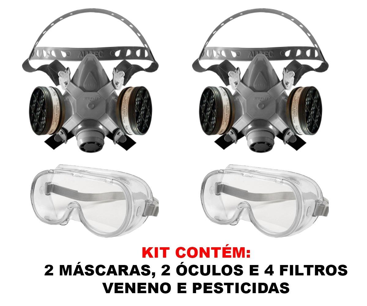 a2b2896cea0d8 2 mascaras respirador facial 4 filtros para veneno pesticida. Carregando  zoom.