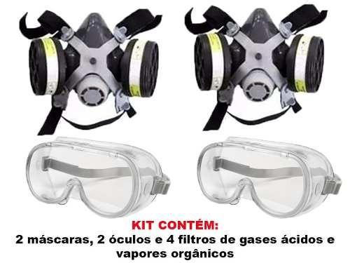 6b33e063a34f3 2 Mascaras Respirador Facial Com 4 Filtros Gases + Óculos - R  128 ...
