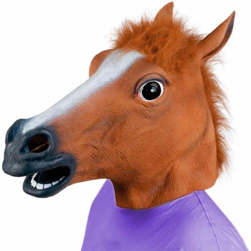 2 máscaras - uma cabeça de cavalo + unicórnio látex cosplay