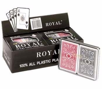 2 mazos de cartas royal plastificadas poker 1 rojo y 1 negro