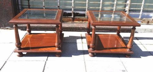 2 mesas ratonas de estilo ingles costado de sofa no frances