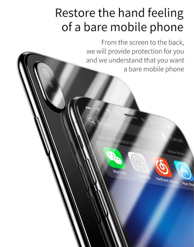 2 micas vidrio templado delantero y trasero iphone x baseus