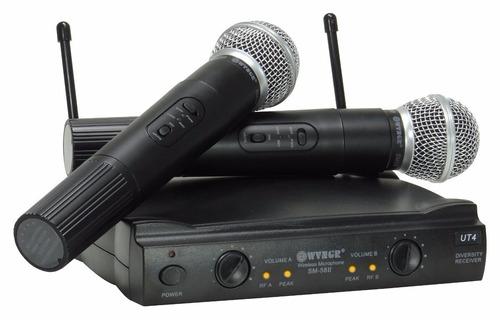 2 microfone sem fio digital profissional receptor uhf le-906