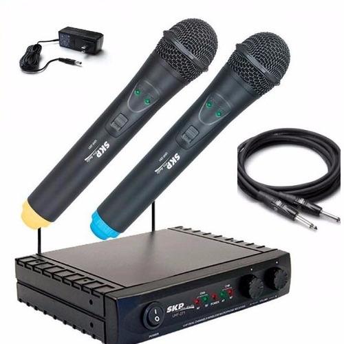2 microfono inalambrico skp vhf2671 de mano unidades  envios