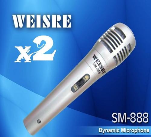 2 microfonos profesional dinamico alambrico weisre x2