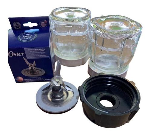 2 mini vasos cristal papillas salsas aderezo licuadora oster