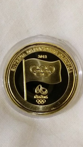 2 moedas da entrega da bandeira olimpíadas rio 2016-folheada
