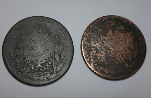 2 moedas de 80 réis carimbo 40 de 1827 r