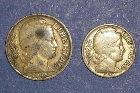 2 moneda argentina 5 centavos 1949 20 centavos 1948 libertad