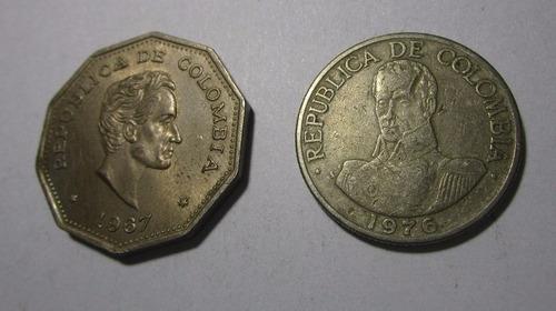 2 moneda colombia 1 peso antigua  lote c10