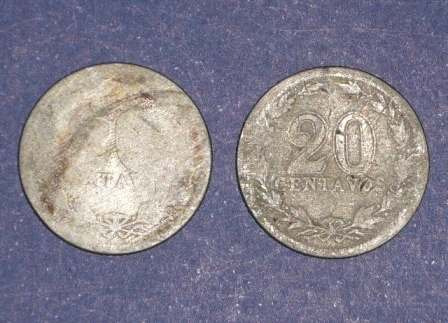 2 monedas argentina 20 centavos antiguas 1906 1907 américa