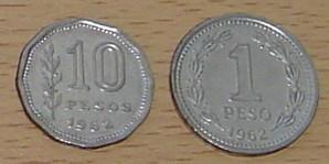 2 monedas argentinas año 1962