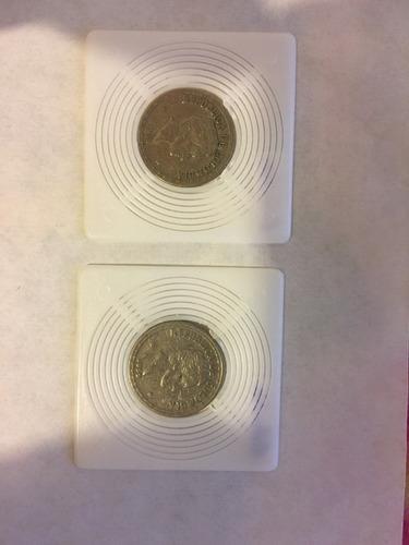 2 monedas de 20 centavos antiguas de colombia 1956 y  1959
