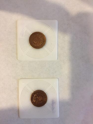 2 monedas de 5 centavos antiguas de colombia