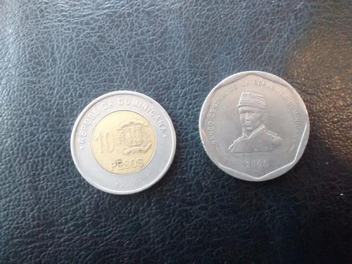 2 monedas rep dominicana 10 y 25 pesos  (779z