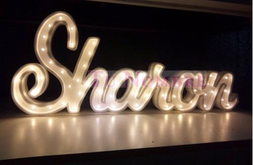 2 nombres iluminado 6 letras x 15cm y 3 letras x 50 cm luces