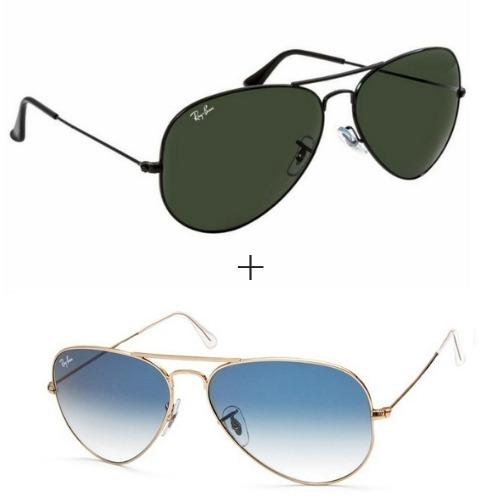 b19e55546027a 2 Oculos Ray Ban Aviador Preto - Azul Degrade Original ( M ) - R ...