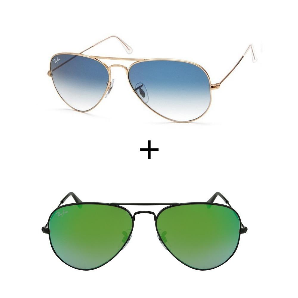 2993d7e8b53fe 2 Oculos Ray-ban Aviador Rb3026 Azul Degrade+verde Com Preto - R ...