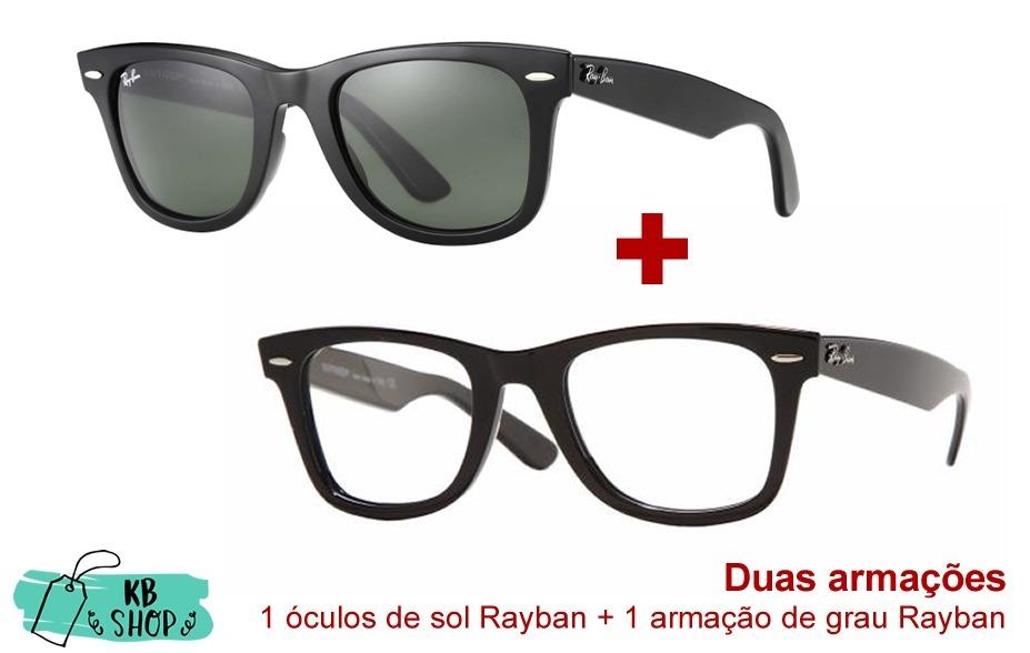 92d121a5f ... norway 2 óculos rayban wayfarer preto brilhante. carregando zoom. 3672c  80fea