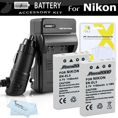 2 pack battery and charger kit for nikon p100 p500 p510 p520