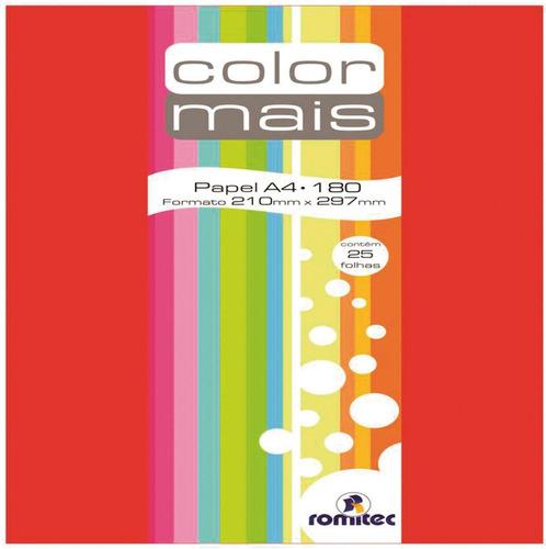 2 papel a4 color color mais vermelho 180g c/25