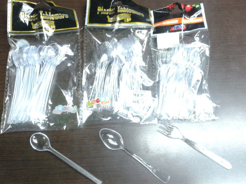 2 paq. cucharas, tenedores  mini postres, pasapalos, eventos