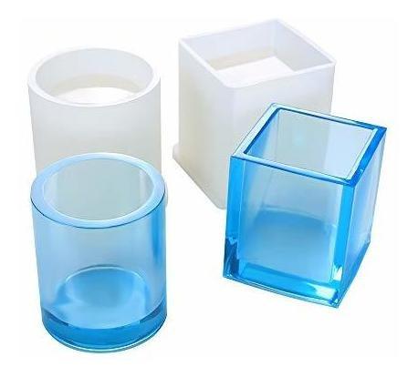 2 paquete diy cuadrado de resina molde, cubo y cilindro sili